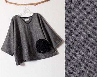 made to order oversized black flower on gray tweed wool top