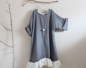 linen rose motif ruffle dress made to order XS to 6XL