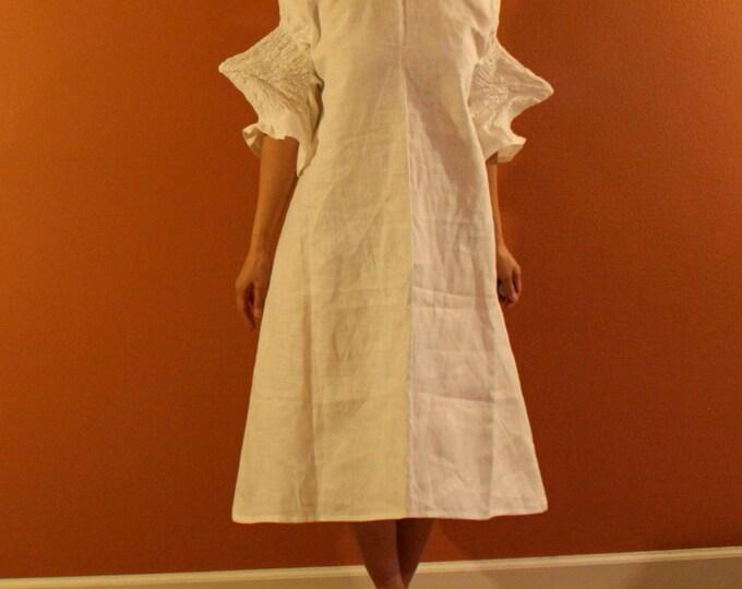 custom smocked spiky sleeves linen dress / made to order dress/ women clothing / plus size white dress / wedding dress / custom all sizes /