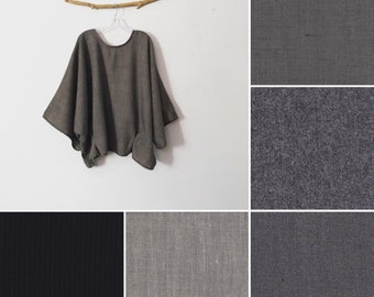 made to order five different wool choices oversized wool two folds kimono wide sleeve top
