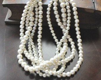Ivory Pearl Necklace, Brides Pearl Jewellery, Multi Strand Pearl Necklace