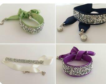 Beauty Gift, Bridal Crystal Wrap Bracelet with Crystal Charms Bracelet