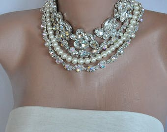 Sparkle Bold Bridal Statement Rhinestone Necklace