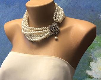 Ivory Pearl Collar with Rhinestone Brooch