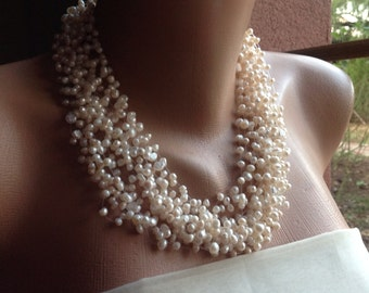 Wedding Party Freshwater Pearl Necklace, Handmade Multistrand Statement Necklace, Ivory Freshwater Pearls, Layered Pearl Jewelry,Bridal