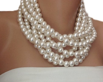 Chunky Necklace, MultiLayer Pearl Necklace,Brides Necklaces, pearl necklace