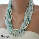Chunky Layered Turquoise and Ivory Pearl Necklace with Rhinestones brides bridesmaids