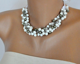 Stark white and Silver Beach Weddings Necklace