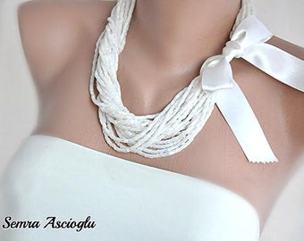 Handmade Crystal Necklace, Ribbon Necklace, Bridesmaids Gifts,