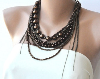 Chunky Layered Chocolate Glass Pearl Necklace