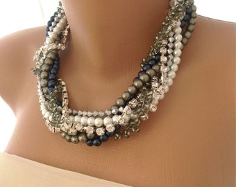 Nautical weddings pearl necklace with matching earrings