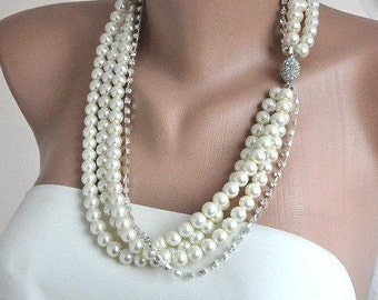 Layered Ivory Pearl Necklace, 3 Pearl Strands Necklace