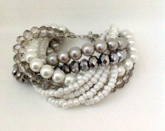 Coworker Gift , Pearl Bracelet, Wedding Pearl, Bridal Pearl Bracelet, Silver Glass Pearl Bracelet ,