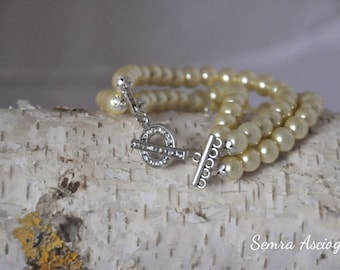 Summer Weddings, Glass Pearl Bracelet, brides, bridesmaids gifts, special occasion
