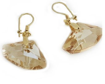 Light Honey  Swarovski Crystal 925 Silver Earrings