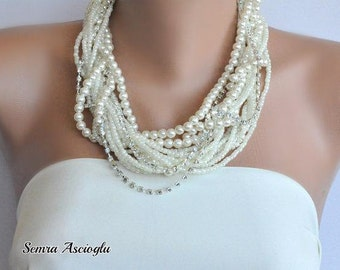 Chunky Beaded Layered Ivory Pearl Necklace with Rhinestones brides bridesmaids