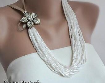 Handmade Weddings Bridal Ivory Necklace with Swarovski Crystals Brooch