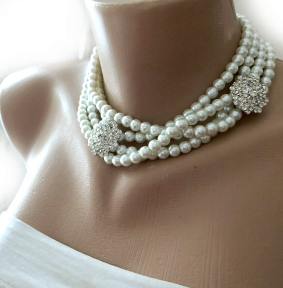 4483007c7a3c0 Multi Strands Glass Pearl Long or Choker Style Necklace