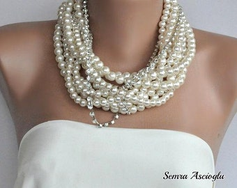 Chunky Layered Ivory Pearl Necklace with Rhinestones brides bridesmaids
