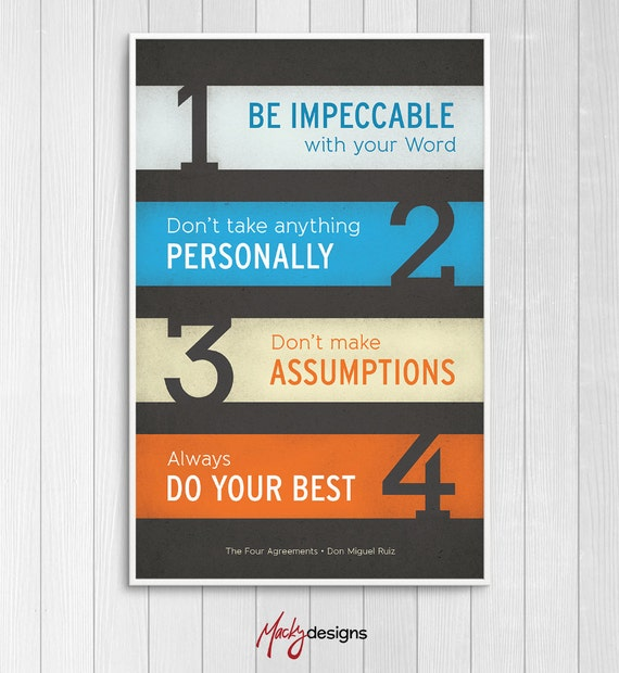 The Four Agreements Inspirational Typographic Poster Print Etsy