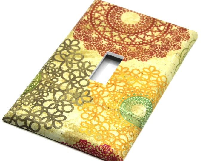 Light Switch Cover Switchplate Colorful Doilies Orange Yellow Tan