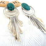 Beautiful Pre-owned Vintage Native American Sterling Silver And Turquoise Post Back Earrings  WM138