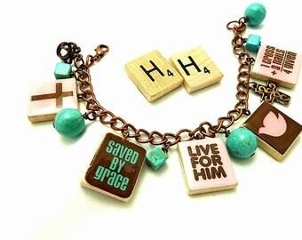 Jesus Repurposed Scrabble Tile Bracelet