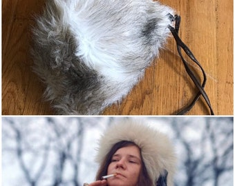 44409298568 Vintage 60s 70s hippie boho Acrylic fake fur winter hat Union made in the  USA Free US Shipping