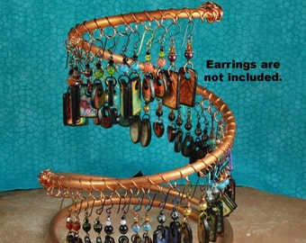 Spiral Copper Earring Holder, Earring Display, Jewelry Display, Earring Tree  C200 by CC Design