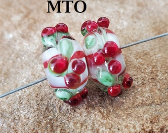Glass Lampwork Beads, Christmas, Earring Beads, Holly Berries, Made To Order, SRA #619 by CC Design