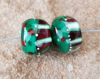 Glass Lampwork Beads, Christmas, Earring Beads, Red, Green, White, SRA #611 by CC Design