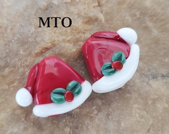 Glass Lampwork Beads,  Made To Order, Santa Hat, Christmas, Earring Beads SRA #623 by CC Design