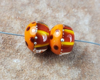 Glass Lampwork Beads, Warm Fall Colors, Autumn, Thanksgiving, Earring Beads,  Silver SRA #539 by CC Design