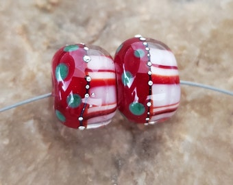 Glass Lampwork Beads, Christmas, Holiday, Festive, Earring Beads, Red, Green, White, SRA #612 by CC Design