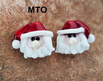 Glass Lampwork Beads,  Made To Order, Santa Claus, Christmas, Earring Beads SRA #412 by CC Design