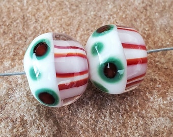 Glass Lampwork Beads, Christmas, Earring Beads, Red, Green, White, SRA #609 by CC Design