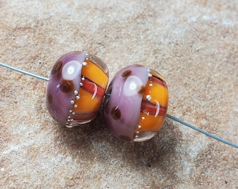 Glass Lampwork Beads, Warm Fall Colors, Autumn, Thanksgiving, Earring Beads,  Silver SRA #536 by CC Design
