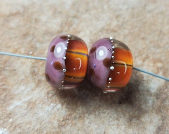 Glass Lampwork Beads, Warm Fall Colors, Autumn, Thanksgiving, Earring Beads,  Silver SRA #538 by CC Design