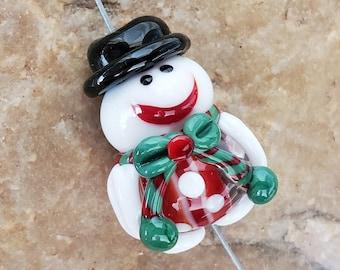 Glass Lampwork Beads, Christmas, Snowman, Focal Bead SRA #606 by CC Design