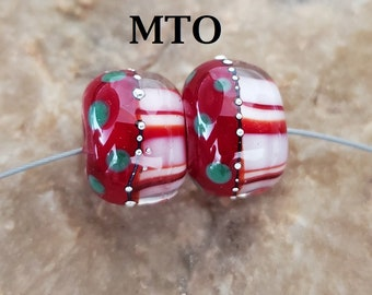 Glass Lampwork Beads, Christmas, Made to Order,  Earring Beads, Red, Green, White, SRA #612 by CC Design