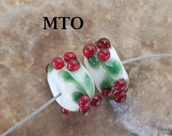 Glass Lampwork Beads, Christmas, Earring Beads, Holly Berries, Made To Order, SRA #620 by CC Design