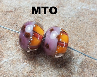 Glass Lampwork Beads, Warm Fall Colors, Earring Beads, Thanksgiving, Silver Made To Order SRA #536 by CC Design