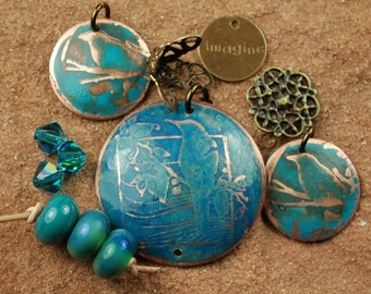 Etched Copper Metal Stamp, Lampwork Beads, Teal Birds SRA 468 by CCDesign
