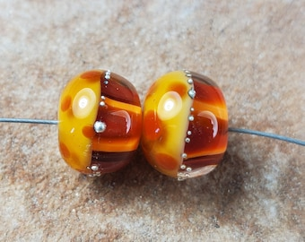 Glass Lampwork Beads, Warm Fall Colors, Autumn, Thanksgiving, Earring Beads,  Silver SRA #537 by CC Design