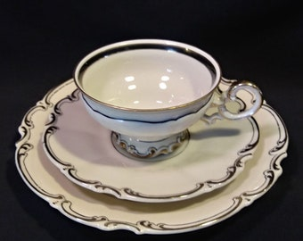 3 Pc Hutschenreuther China Place Setting White Black Gold