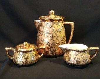 McCoy 5 Pc Golden Brocade Coffee Set