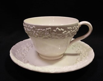 Wedgwood Cup n Saucer Set Cream on Cream Color (Shell Edge)