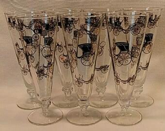 7 Pc 1950's Libbey Curio Pilsner Glasses.
