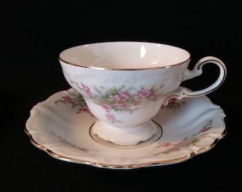 Johann Haviland Bavaria Bridal Rose Footed Cup n Saucer Set