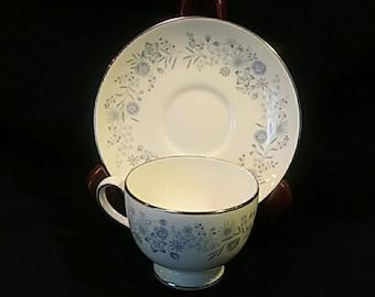 Wedgwood Footed Cup n Saucer Set in Belle Fleur.